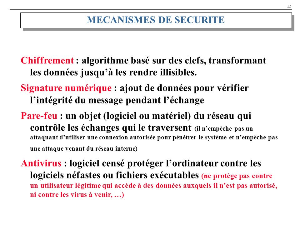 MECANISMES DE SECURITE