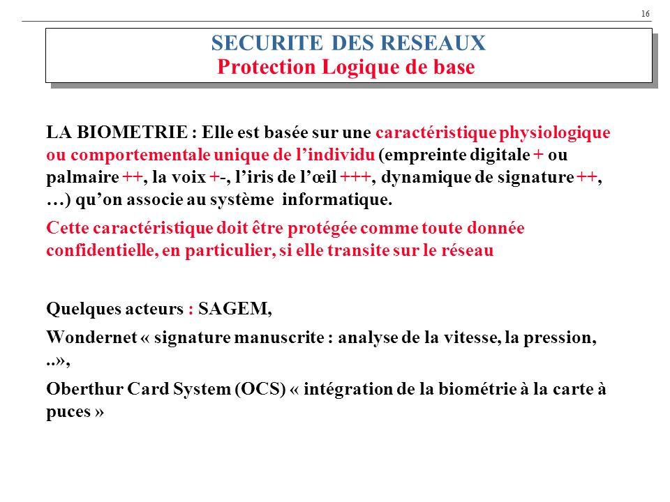 SECURITE DES RESEAUX Protection Logique de base