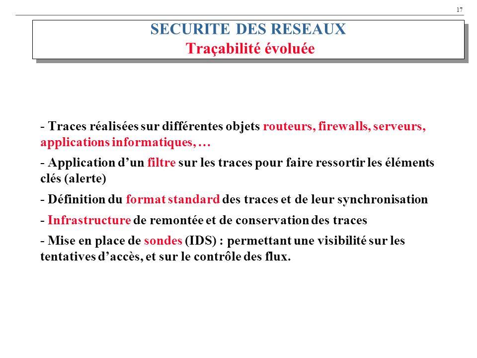 SECURITE DES RESEAUX Traçabilité évoluée