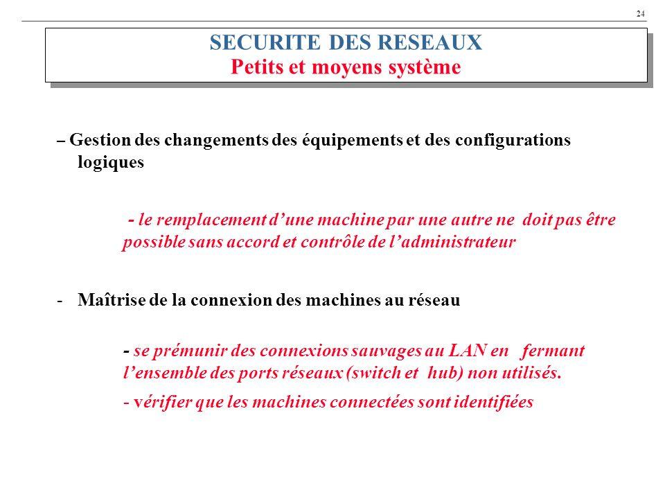 SECURITE DES RESEAUX Petits et moyens système