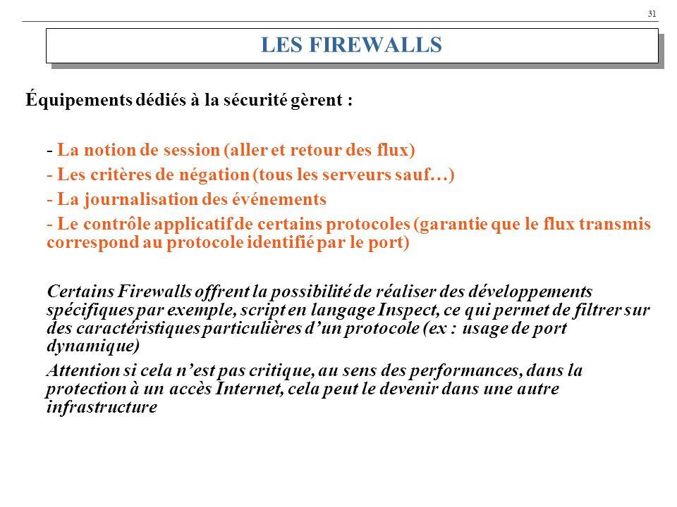 LES FIREWALLS Équipements dédiés à la sécurité gèrent :