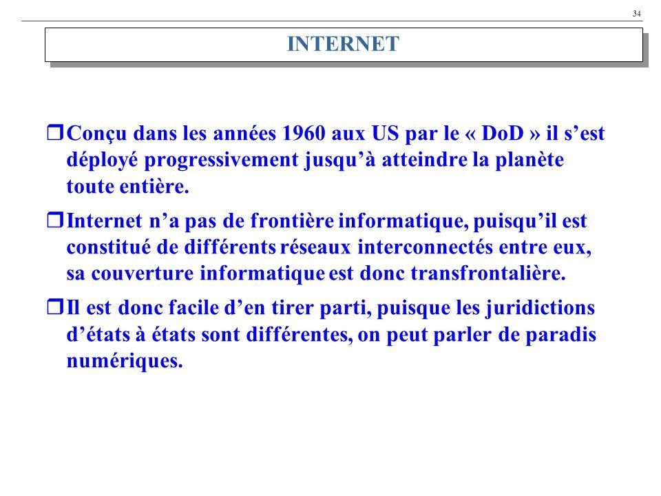 INTERNET Conçu dans les années 1960 aux US par le « DoD » il s'est déployé progressivement jusqu'à atteindre la planète toute entière.