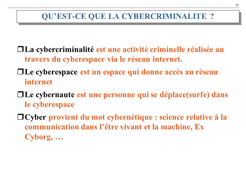 QU'EST-CE QUE LA CYBERCRIMINALITE