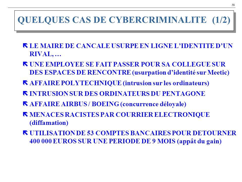 QUELQUES CAS DE CYBERCRIMINALITE (1/2)