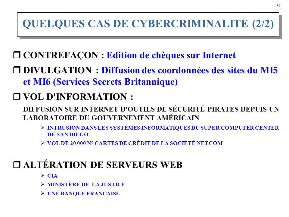 QUELQUES CAS DE CYBERCRIMINALITE (2/2)