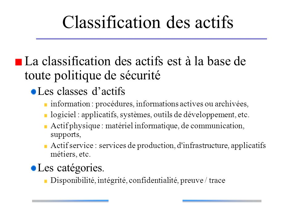 Classification des actifs