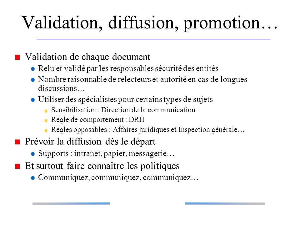 Validation, diffusion, promotion…