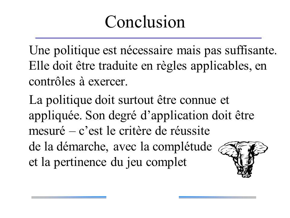 Conclusion Une politique est nécessaire mais pas suffisante. Elle doit être traduite en règles applicables, en contrôles à exercer.