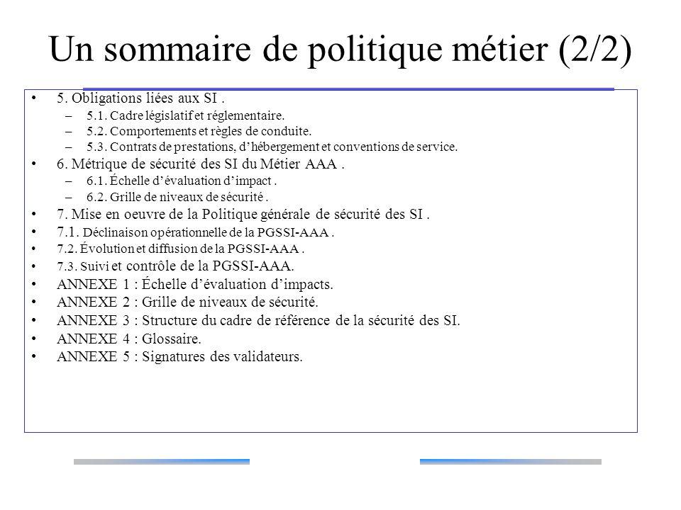 Un sommaire de politique métier (2/2)