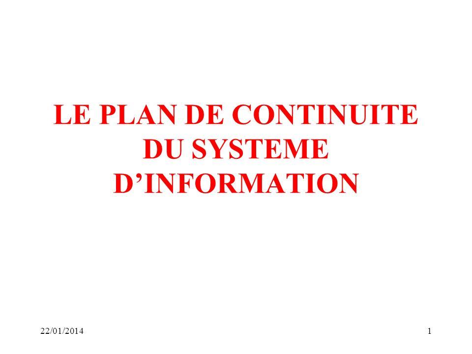LE PLAN DE CONTINUITE DU SYSTEME D'INFORMATION