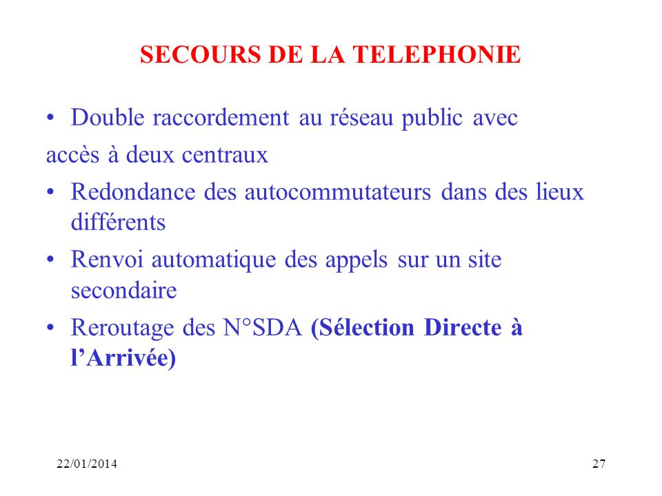 SECOURS DE LA TELEPHONIE