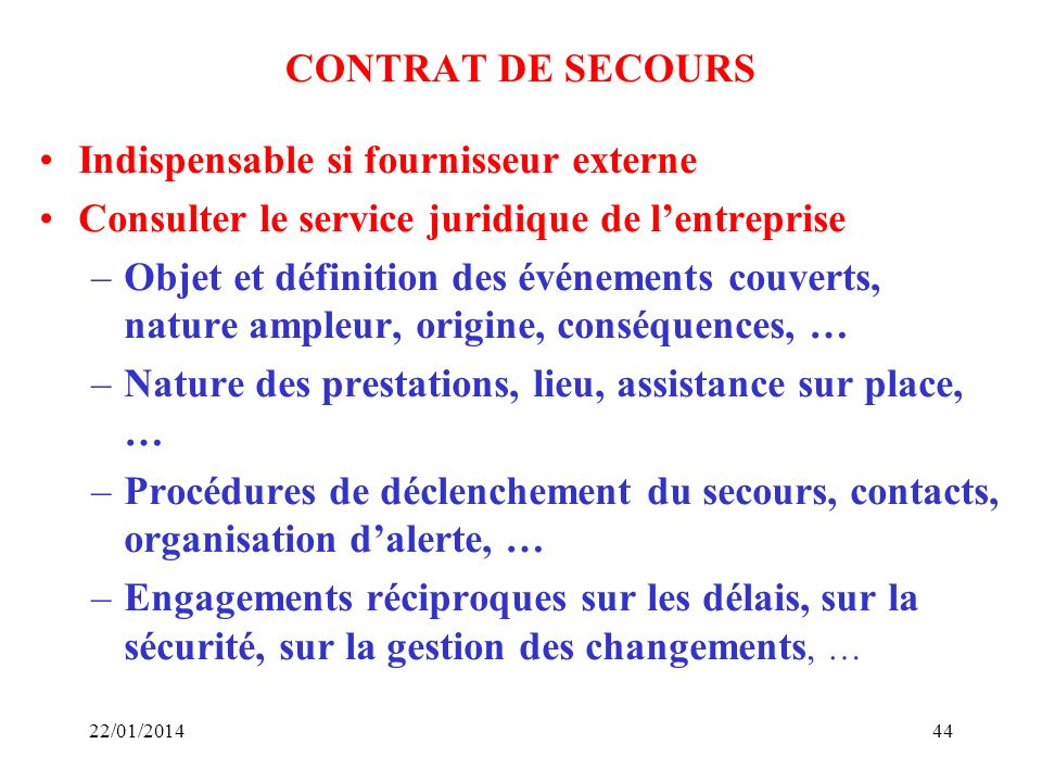 Indispensable si fournisseur externe
