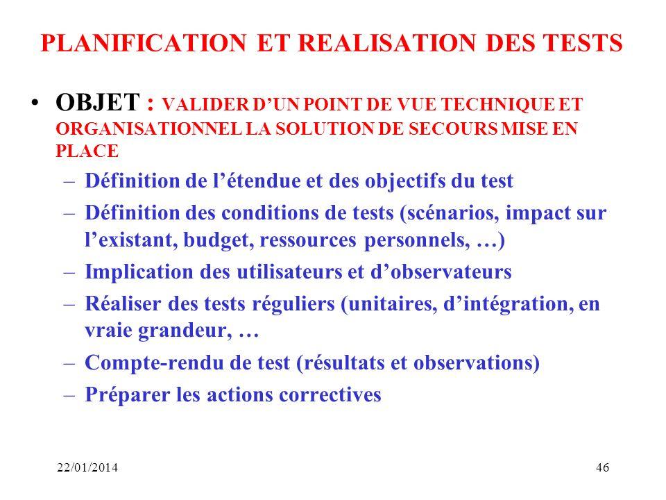 PLANIFICATION ET REALISATION DES TESTS