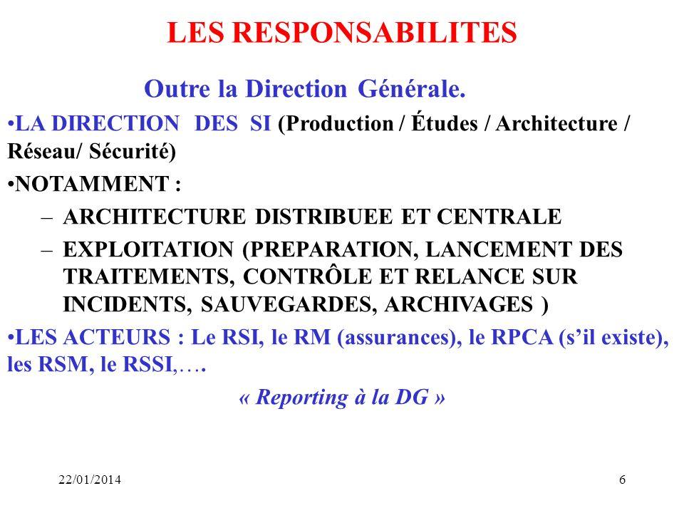 LES RESPONSABILITES Outre la Direction Générale.
