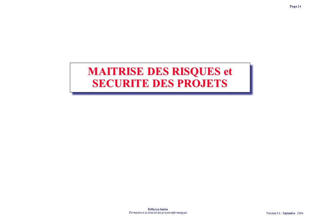 MAITRISE DES RISQUES et SECURITE DES PROJETS