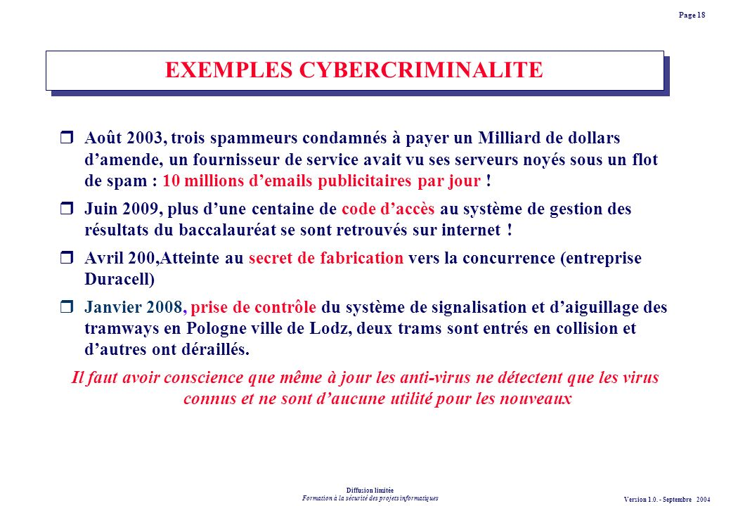 EXEMPLES CYBERCRIMINALITE