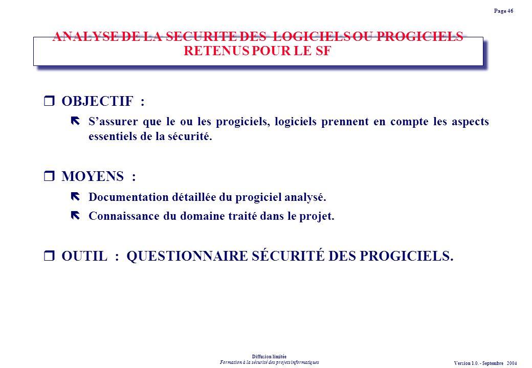 ANALYSE DE LA SECURITE DES LOGICIELS OU PROGICIELS RETENUS POUR LE SF