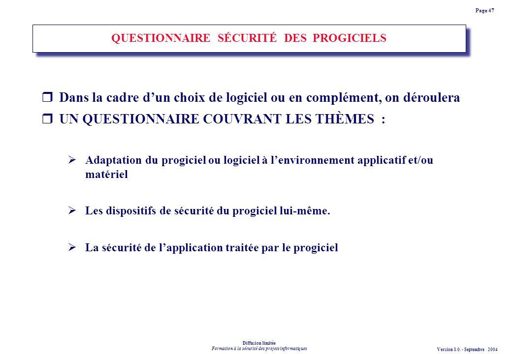 QUESTIONNAIRE SÉCURITÉ DES PROGICIELS