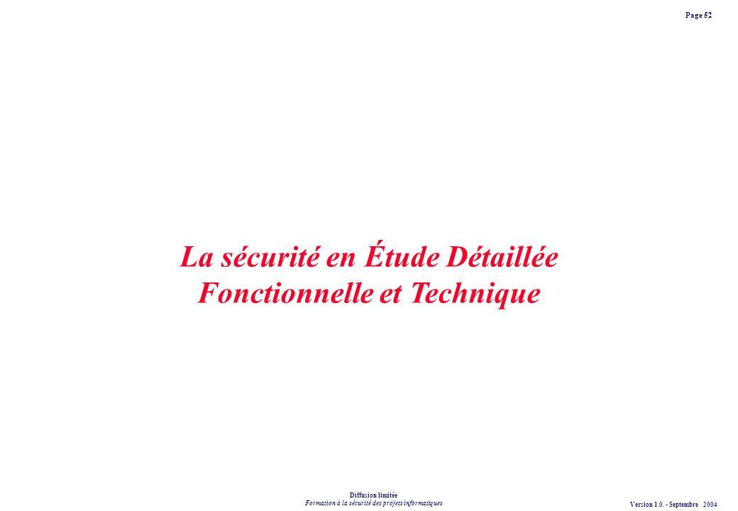 La sécurité en Étude Détaillée Fonctionnelle et Technique