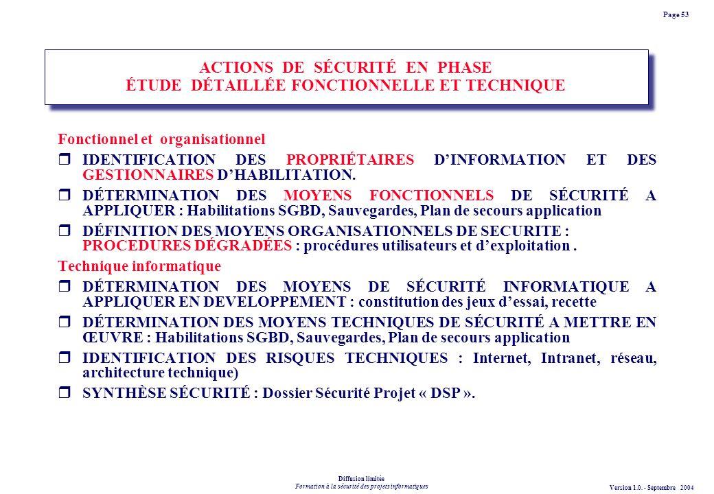 ACTIONS DE SÉCURITÉ EN PHASE ÉTUDE DÉTAILLÉE FONCTIONNELLE ET TECHNIQUE