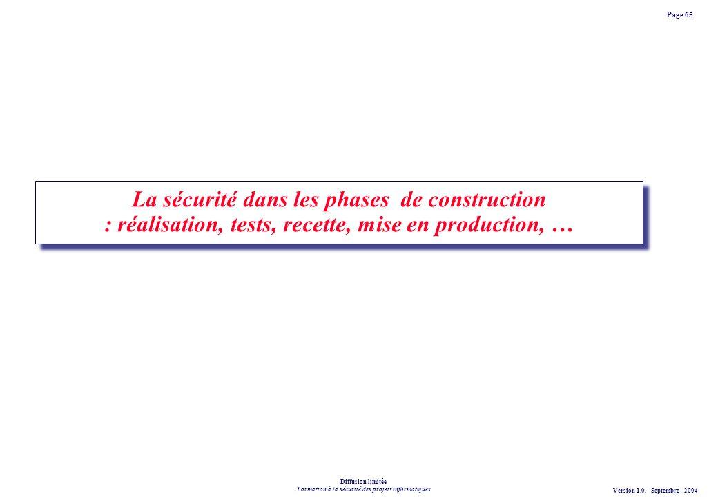 La sécurité dans les phases de construction : réalisation, tests, recette, mise en production, …
