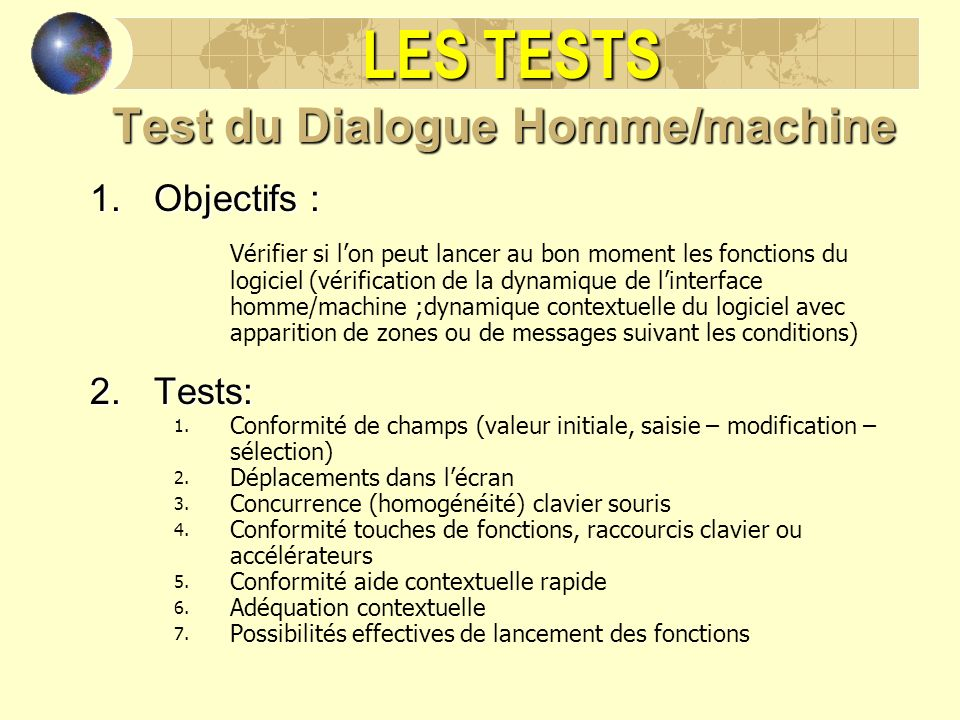 Test du Dialogue Homme/machine