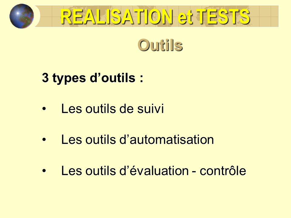 REALISATION et TESTS Outils 3 types d'outils : Les outils de suivi