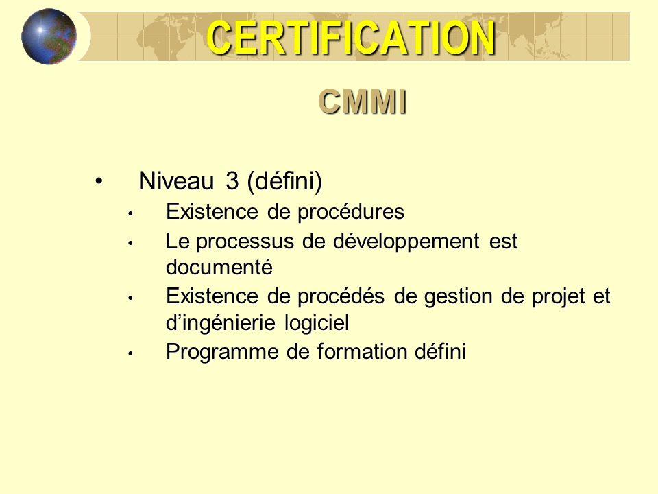CERTIFICATION CMMI Niveau 3 (défini) Existence de procédures