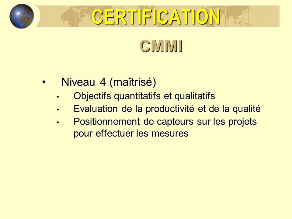 CERTIFICATION CMMI Niveau 4 (maîtrisé)
