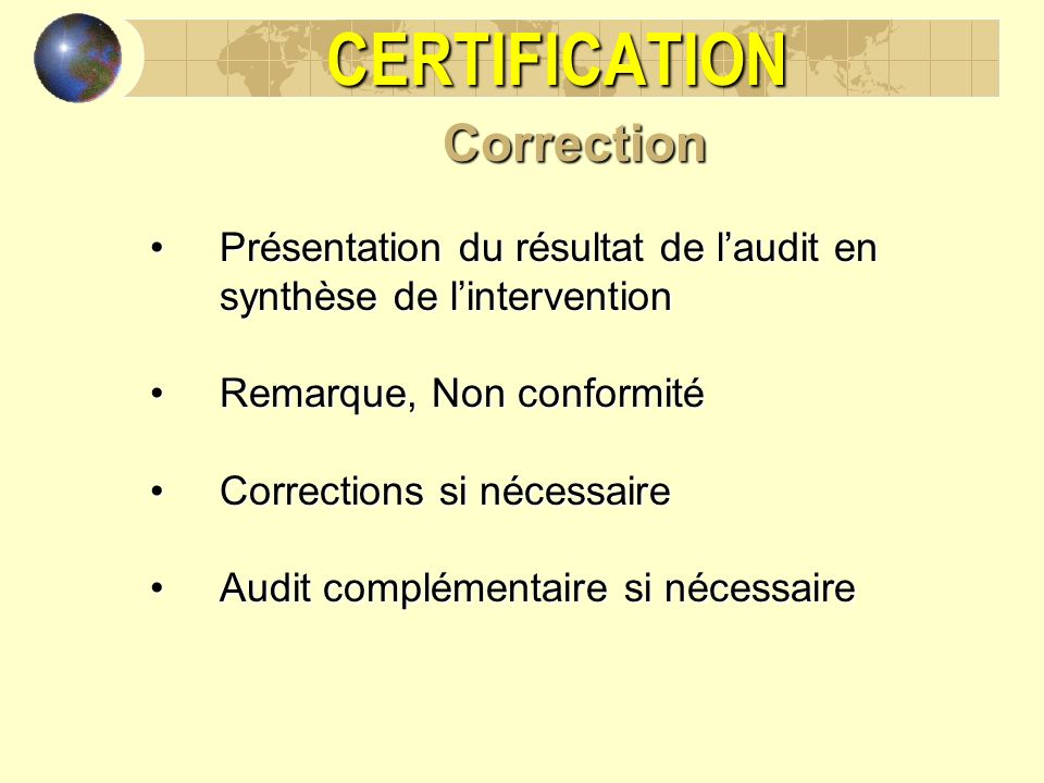 CERTIFICATION Correction