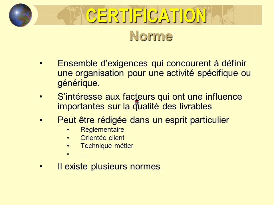 CERTIFICATION Norme. Ensemble d'exigences qui concourent à définir une organisation pour une activité spécifique ou générique.