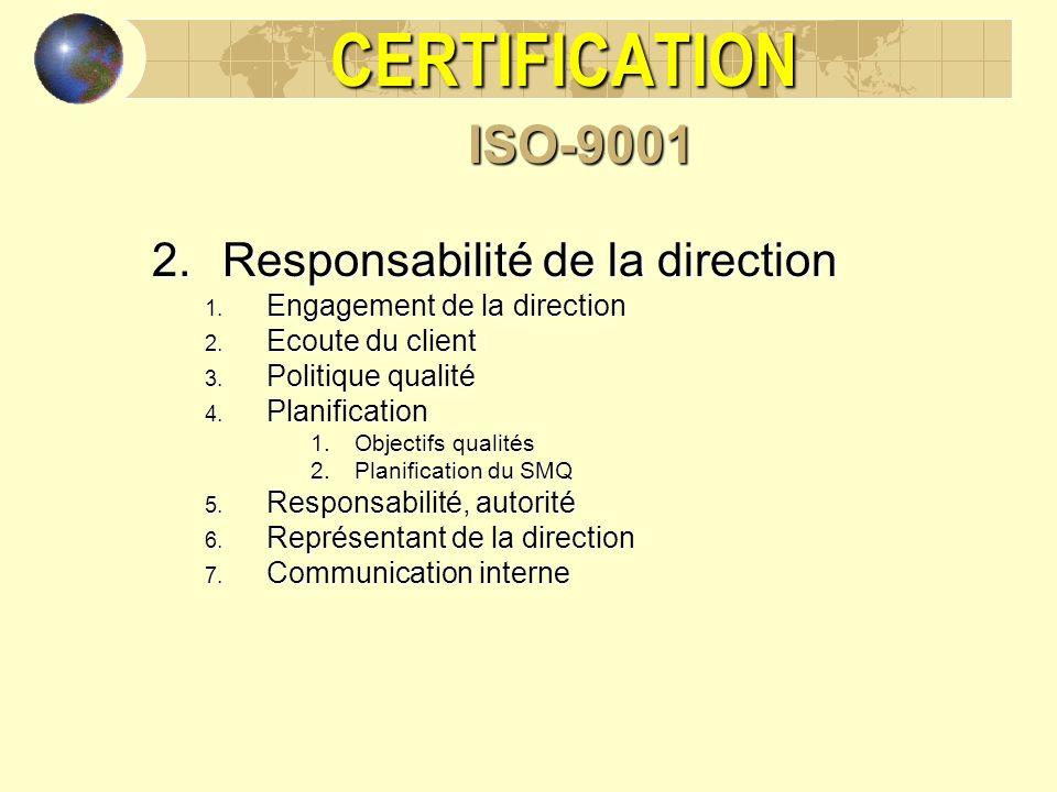 CERTIFICATION ISO-9001 Responsabilité de la direction