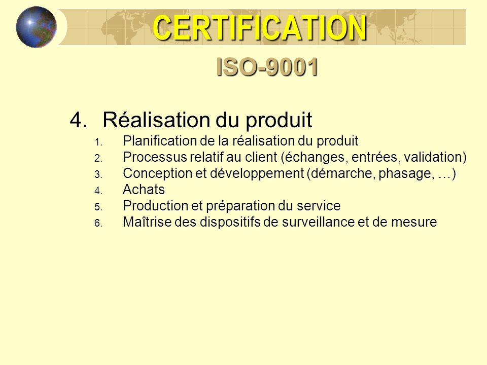 CERTIFICATION ISO-9001 Réalisation du produit