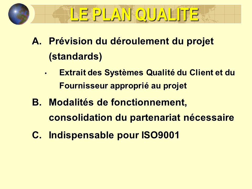 LE PLAN QUALITE Prévision du déroulement du projet (standards)