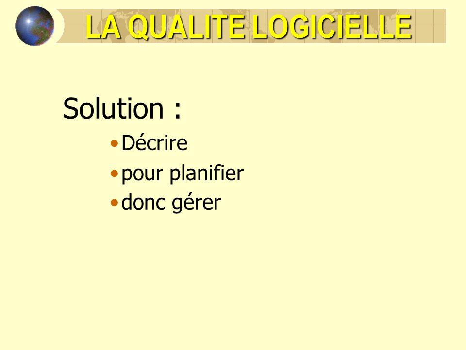 LA QUALITE LOGICIELLE Solution : Décrire pour planifier donc gérer