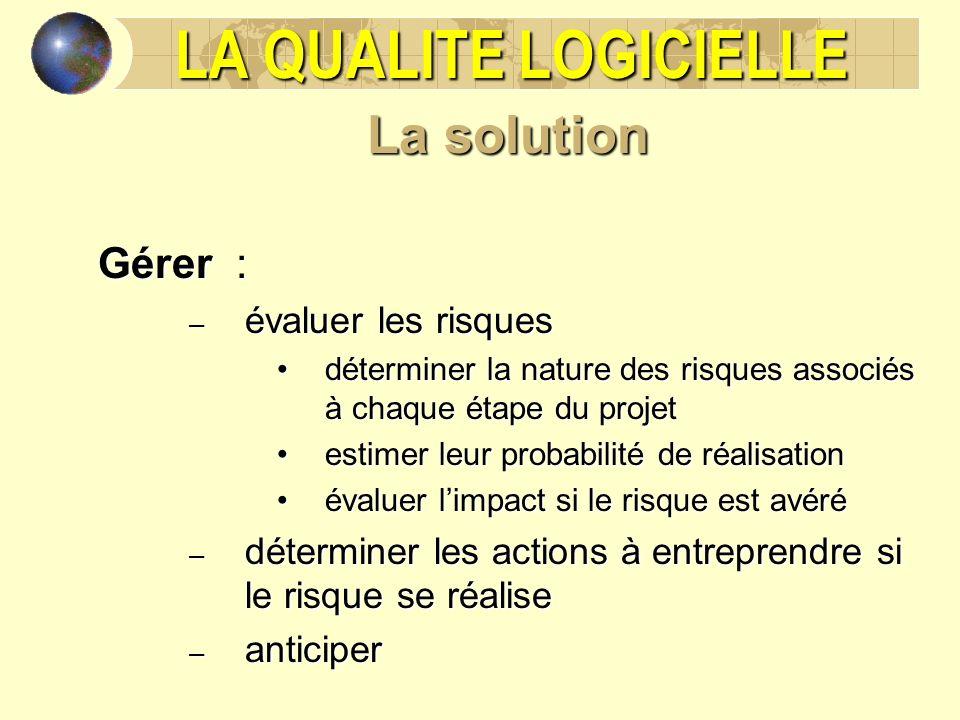 LA QUALITE LOGICIELLE La solution Gérer : évaluer les risques