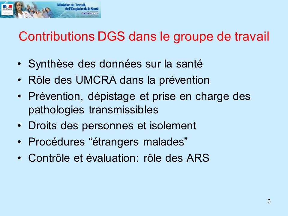 Contributions DGS dans le groupe de travail