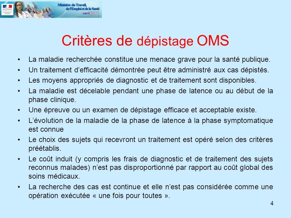 Critères de dépistage OMS