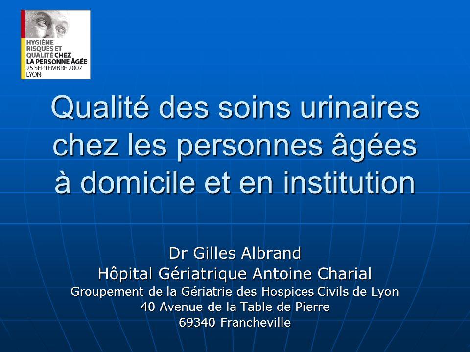 Qualité des soins urinaires chez les personnes âgées à domicile et en institution