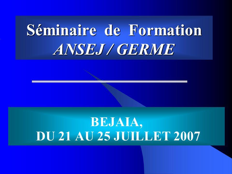 Séminaire de Formation ANSEJ / GERME