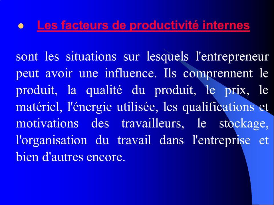 Les facteurs de productivité internes