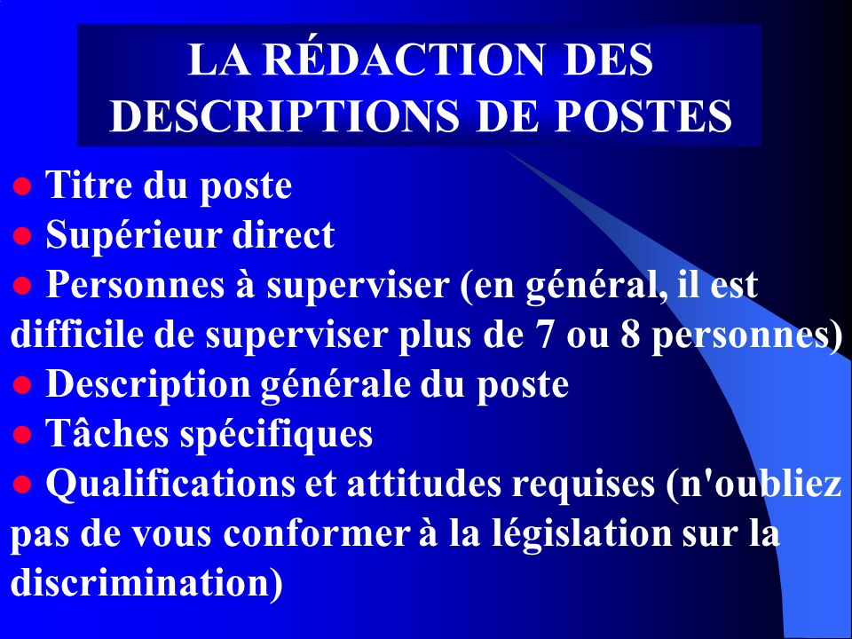 LA RÉDACTION DES DESCRIPTIONS DE POSTES