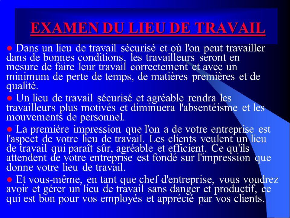 EXAMEN DU LIEU DE TRAVAIL