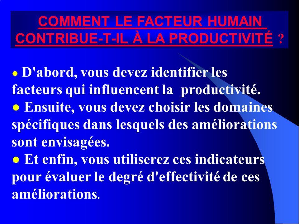 COMMENT LE FACTEUR HUMAIN CONTRIBUE-T-IL À LA PRODUCTIVITÉ