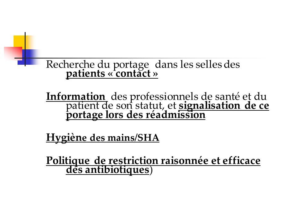 Recherche du portage dans les selles des patients « contact »