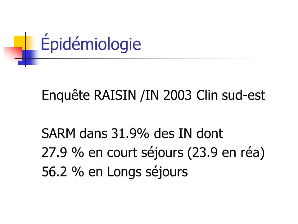 Épidémiologie Enquête RAISIN /IN 2003 Clin sud-est