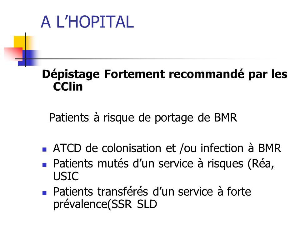 A L'HOPITAL Dépistage Fortement recommandé par les CClin