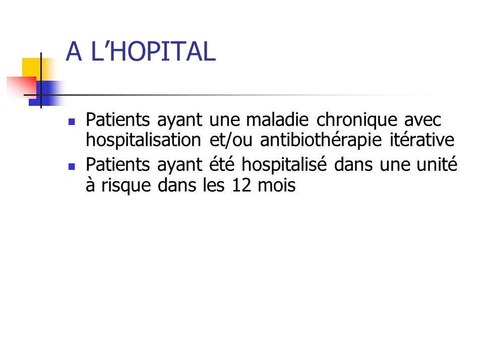 A L'HOPITAL Patients ayant une maladie chronique avec hospitalisation et/ou antibiothérapie itérative.