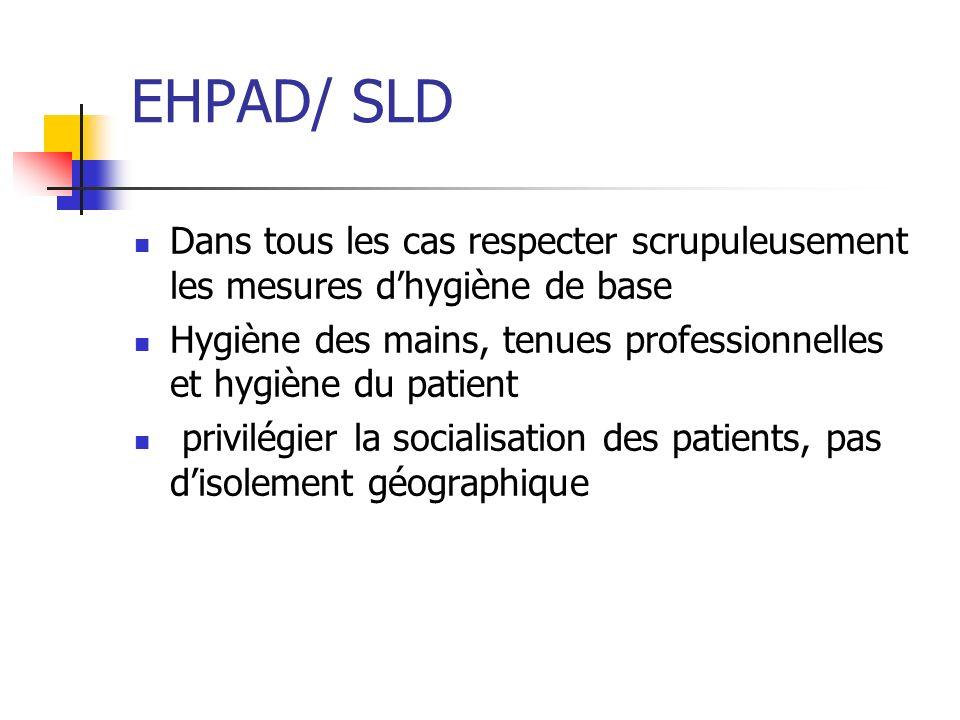 EHPAD/ SLD Dans tous les cas respecter scrupuleusement les mesures d'hygiène de base.