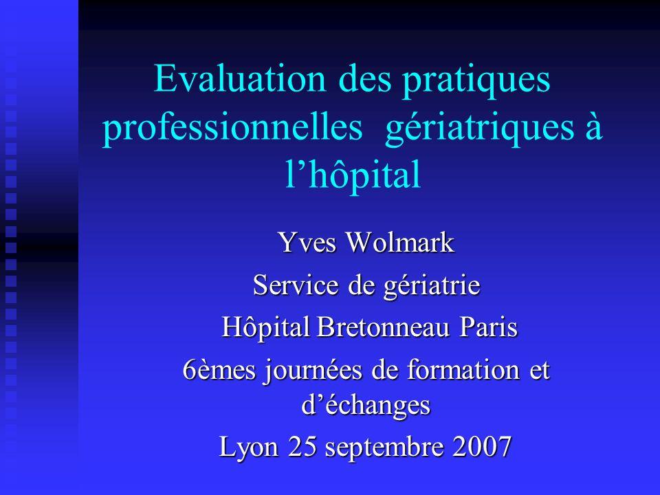 Evaluation des pratiques professionnelles gériatriques à l'hôpital